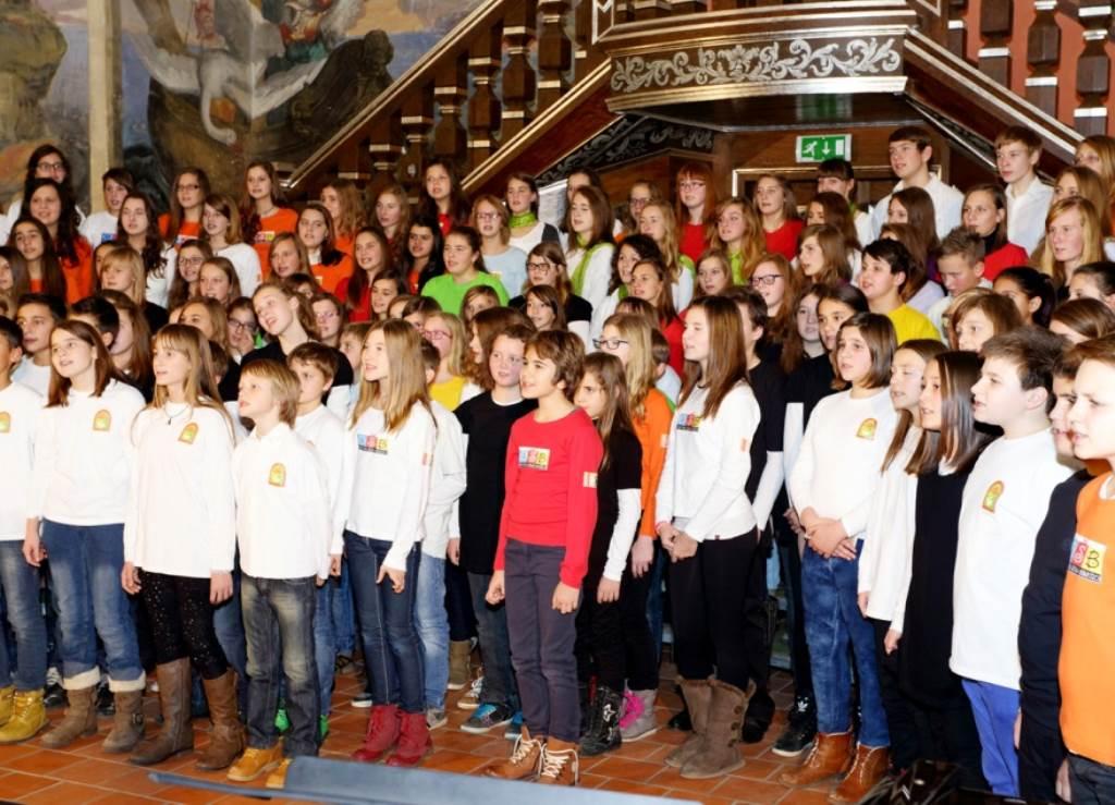 Združeni projektni zbor osnovnih šol občine Brežice – zadovoljstvo, sreča, ponos mladih pevcev Foto: Foto Rožman Brežice