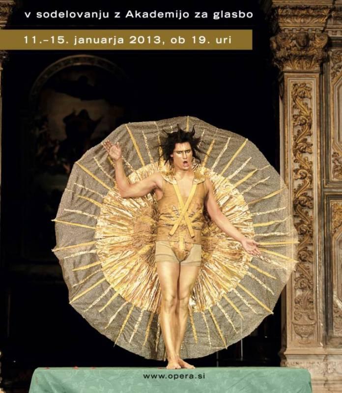 Andrej Makor v vlogi boga Apolona v operni predstavi Orfej C. Monteverdija (projekt AGRFTV, ALU in AG) ...