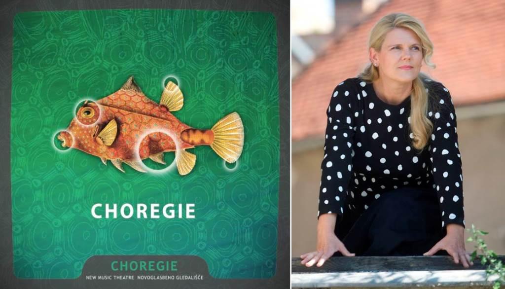 Karmina Šilec in plakat ob predstavitvi koncepta Choregie Foto: Marko Vanovšek, logo Dejan Bulut