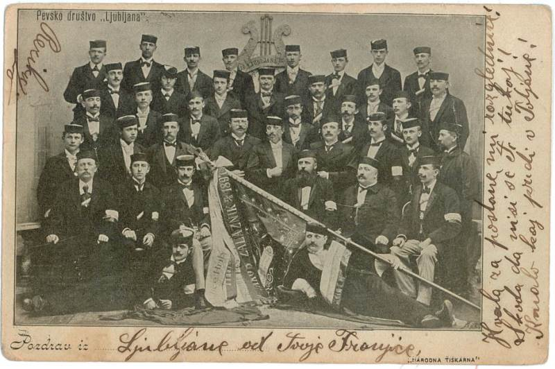 Pevsko društvo »Ljubljana«, ustanovljeno leta 1892; razglednica Vir: arhiv avtorja