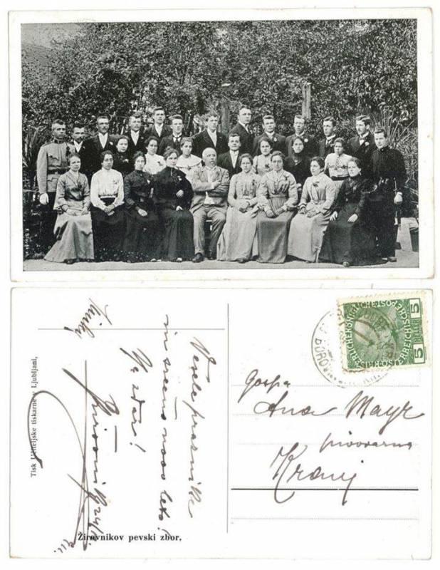 Žirovnikov zbor v Št. Vidu nad Ljubljano, ustanovljen leta 1897; razglednica in hrbtna stran razglednice z oznako Žirovnikovega zbora Vir: arhiv avtorja