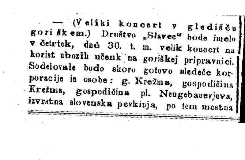 Slavčev nastop v Gorici je decembra 1875 napovedal tudi ljubljanski dnevnik Slovenski narod Foto: arhiv NUK