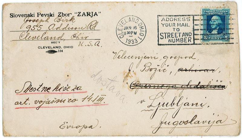 Še pogled v obdobje med obema vojnama: Clevelandska »Zarja«, pevsko društvo, ustanovljeno leta 1916, je že od začetka tudi v mednarodnem prometu poslovalo v slovenščini. To dokazuje tudi pismo s tiskano 'glavo', odposlano leta 1933. Foto: Arhiv avtorja
