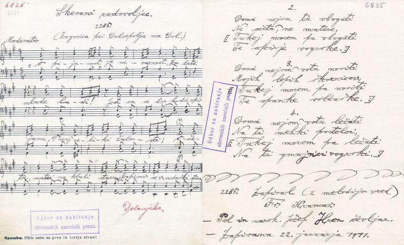 Pesem Skesani radovoljec. Pel Jožef Hren, zapisal Franc Kramar, 1911, Zagorica pri Dobrepolju, Dolenjska. Rokopisni zapis Odbora za nabiranje slovenskih narodnih pesmi (OSNP), arhiv Glasbenonarodopisnega inštituta ZRC SAZU (GNI O 6825).
