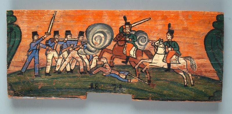 Bitka konjenikov s pešci; panjska končnica iz Čirč na Gorenjskem z letnico 1871, zbirka Slovenskega etnografskega muzeja Foto: Marko Habič
