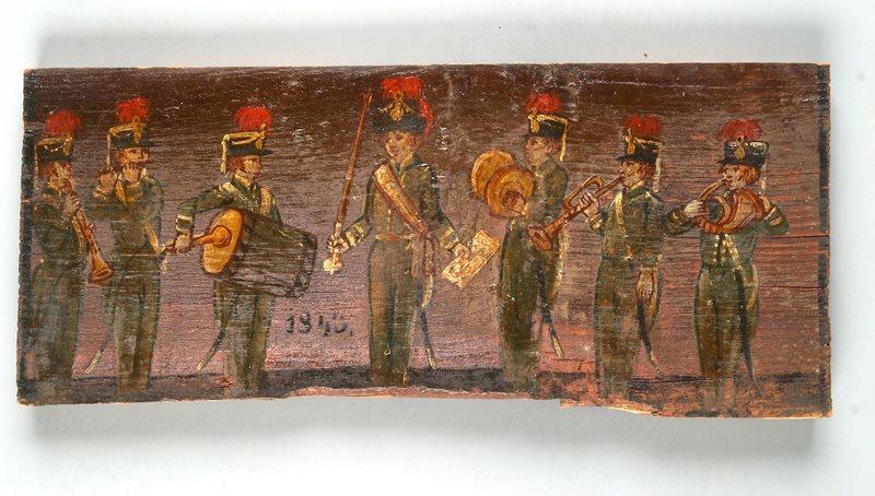 Vojaška godba. Panjska končnica avtorja Leopolda Layerja iz Kranja z letnico 1843, zbirka Slovenskega etnografskega muzeja. Foto: Marko Habič