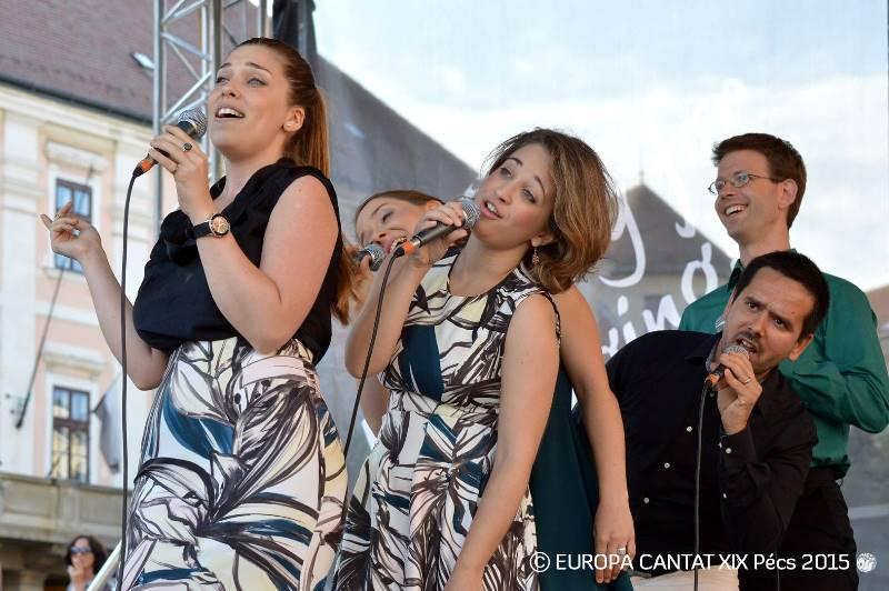 Odlična madžarska vokalna skupina Jazzation je delila z Jazzvo lep koncertni večer v Centru Kodaly. Foto: Europa Cantat