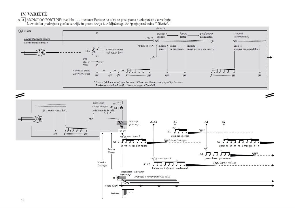 Odlomek iz partiture Fauvel '86