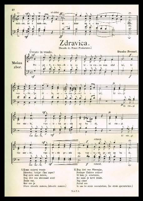 Premrlova uglasbitev Zdravljice je nastala leta 1905 in bila prvič objavljena v reviji Novi akordi januarja 1906. Foto: Slovenski zborovski arhiv