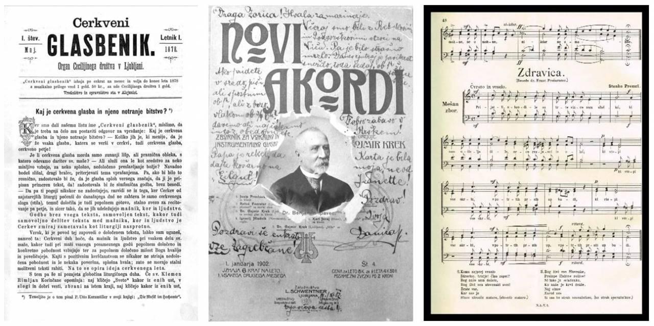Cerkveni glasbenik, 1878, št. 1; Novi akordi, 1902; Stanko Premrl, Zdravica, Novi akordi, 1906
