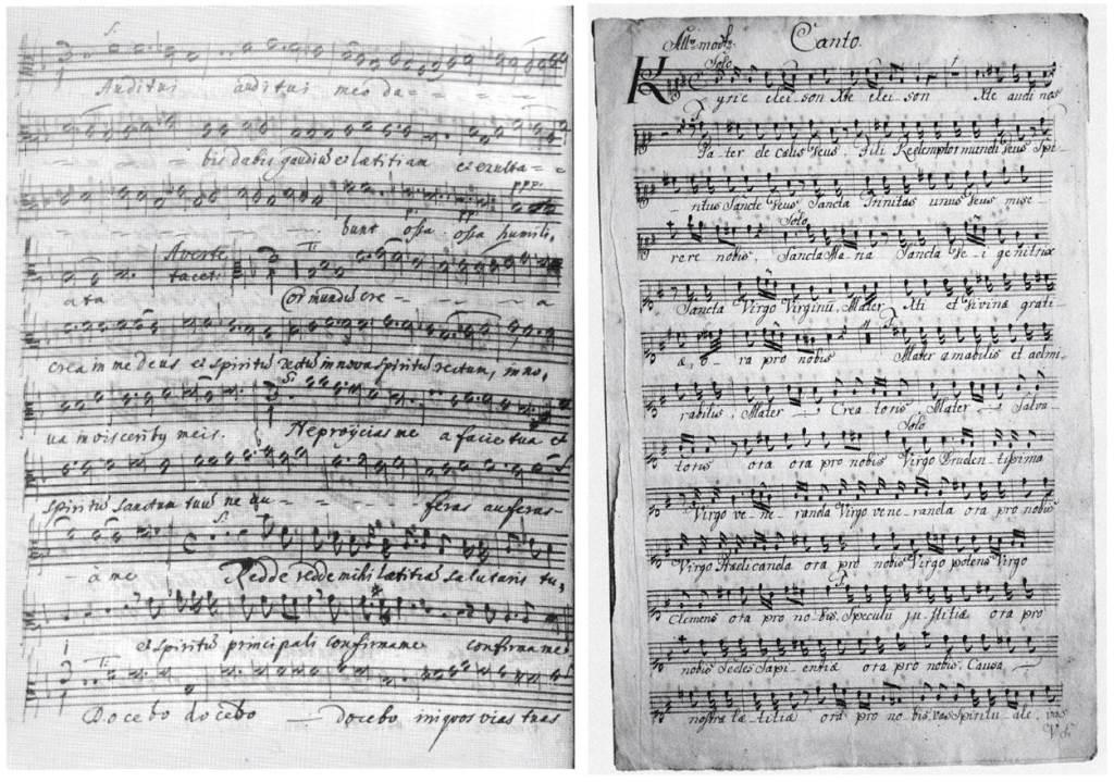 Janez Krstnik Dolar (1621–1673), Miserere mei Deus in [F], alt solo (levo); Jakob Frančišek Zupan (1734–1810), Lhythaniae in G, Canto (desno)