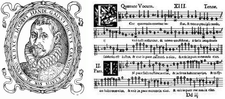 Jacobus Handl - Gallus (1550–1591): Ecce quomodo moritur iustus, Opus musicum, 2/13, tenor