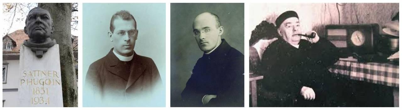P. Hugolin Sattner (1851–1934), Vegova 5, Ljubljana; kipar Lojze Dolinar; Stanko Premrl (1880–1965), 1908; Alojzij Mav (1898–1977); Vinko Vodopivec (1878–1952)