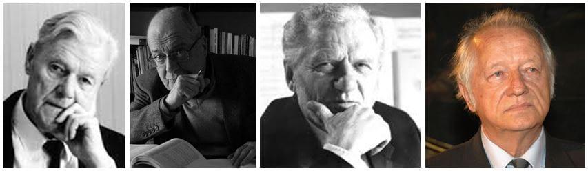 Uroš Krek (1922–2008); Pavle Merkù (1927–2014); Jakob Jež (1928); Lojze Lebič (1934)