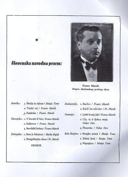 France Marolt v času svoje največje slave. Fotografija s koncertnega lista. Foto: arhiv NUK