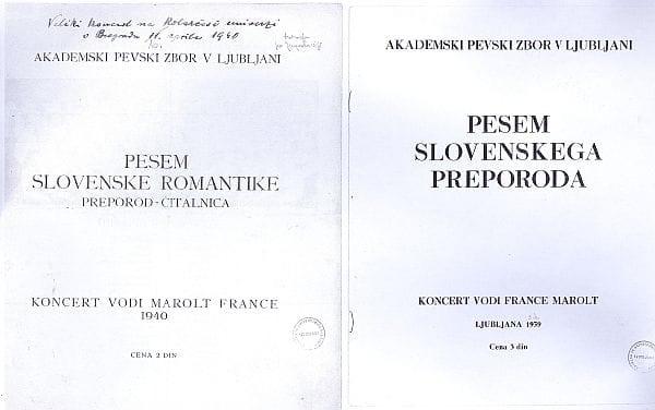 Dvoje koncertnih knjižic za Maroltove nastope APZ-ja iz let 1939 in 1940. Zbor ju je izvedel v Beogradu in Ljubljani. Foto: arhiv NUK
