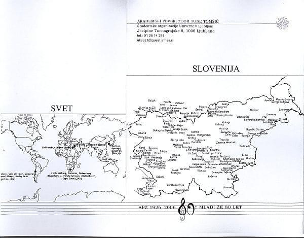 Zdajšnji Akademski pevski zbor Tone Tomšič se lahko pohvali z gostovanji doma in po svetu. Stanje leta 2006. Foto: arhiv NUK