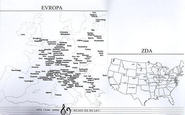 Gostovanja APZ-ja v Evropi in ZDA do leta 2006. Foto: arhiv NUK