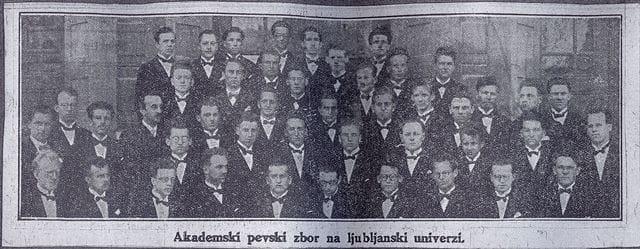 Akademski pevski zbor (APZ) leta 1927. Slika iz Mariborskega večernika. Foto: arhiv NUK-a