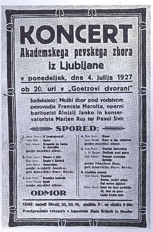 Letak za prvi koncert APZ-ja, ki je potekal 4. julija 1927 v Mariboru Foto: arhiv NUK