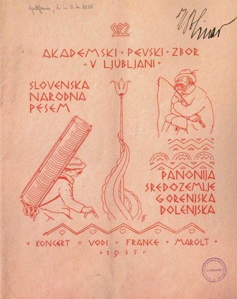 APZ-jev koncert narodnih pesmi leta 1935 je bil že plod njegovega lastnega raziskovanja in sodelovanja s skladateljem Matijo Tomcem. Foto: arhiv NUK