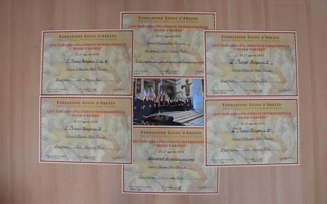 Dosežki Čarnic na Mednarodnem tekmovanju v Arezzu: Prvi nagradi v kategorijah posvetne glasbe in obveznega programa, drugi nagradi v kategorijah sakralne glasbe in monografskega programa, posebna nagrada za najboljšo izvedbo romantične skladbe – Schumannove Die Kapelle.