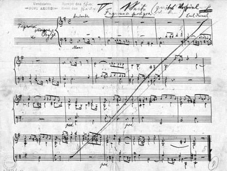 Rokopis Komelove Fugirane predigre, kot ga je skladatelj poslal uredništvu revije Novi akordi Vir: dlib.si