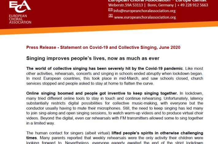 Izjava Evropske zborovske zveze o petju in Covidu-19